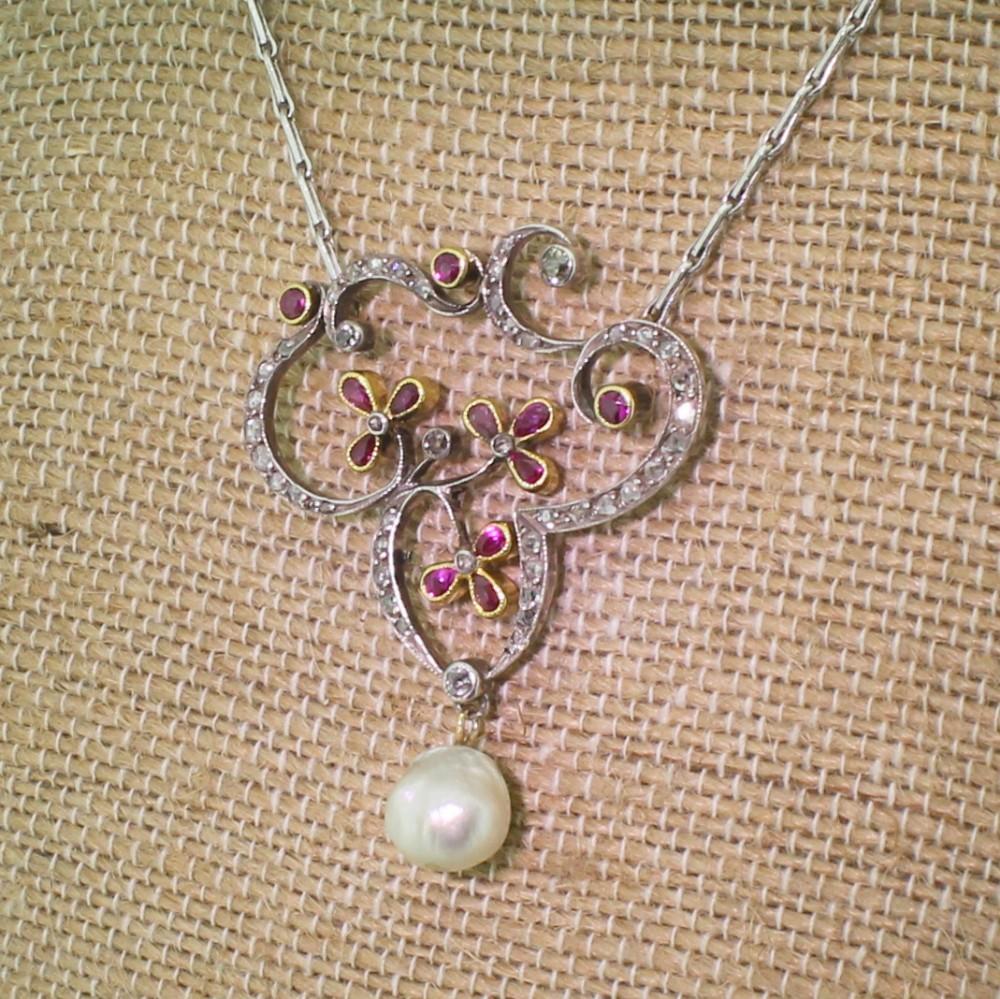 art nouveau ruby diamond natural pearl pendant circa 1900