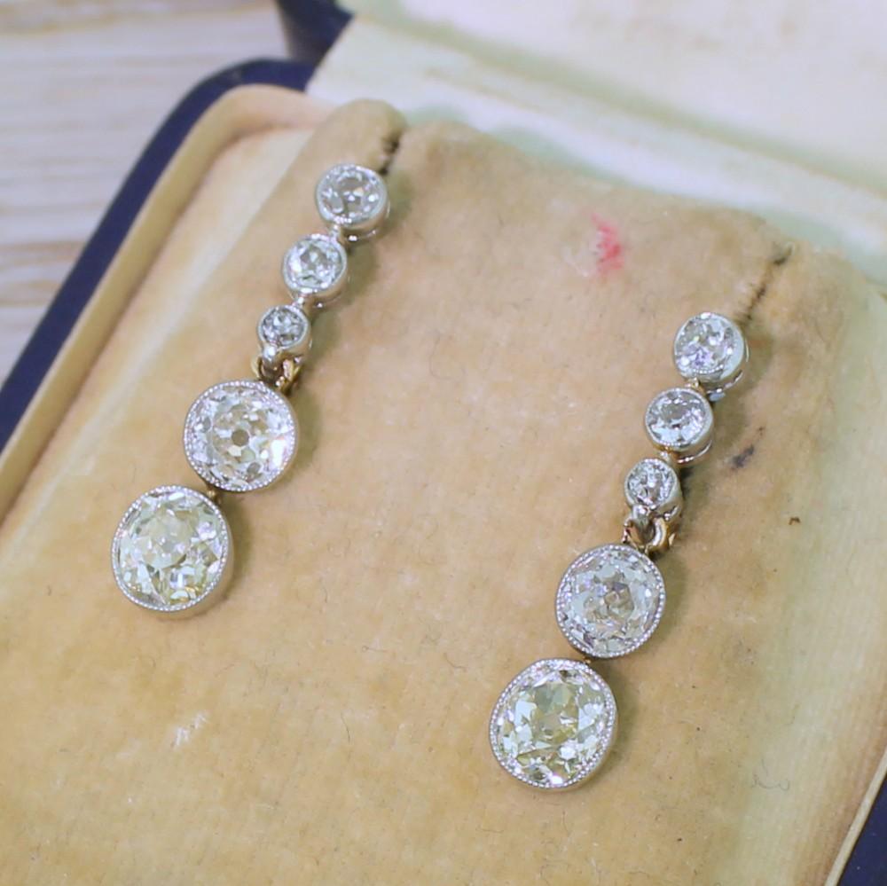 art deco 424 carat old cut diamond drop earrings circa 1915