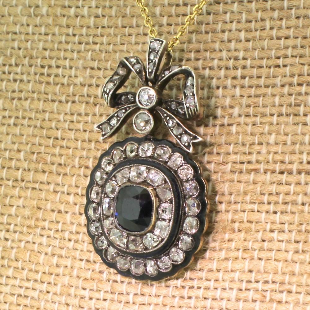victorian 126 carat sapphire old cut diamond enamel brooch pendant circa 1880