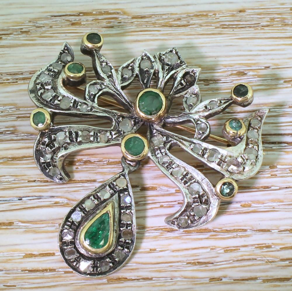 victorian emerald rose cut diamond brooch circa 1900