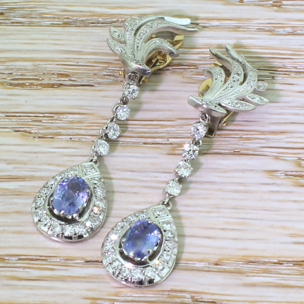 mid century 174 carat sapphire 159 carat diamond drop earrings