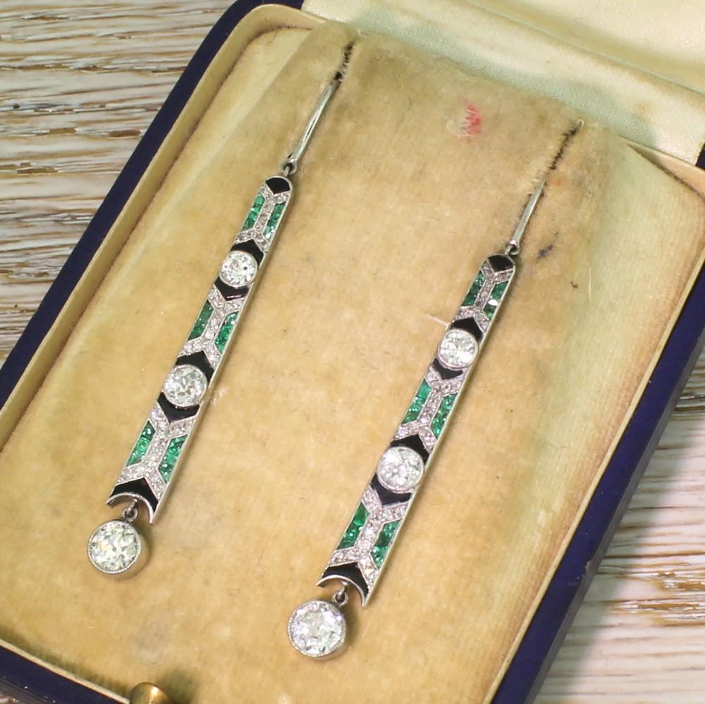 art deco old cut diamond emerald onyx drop earrings circa 1920