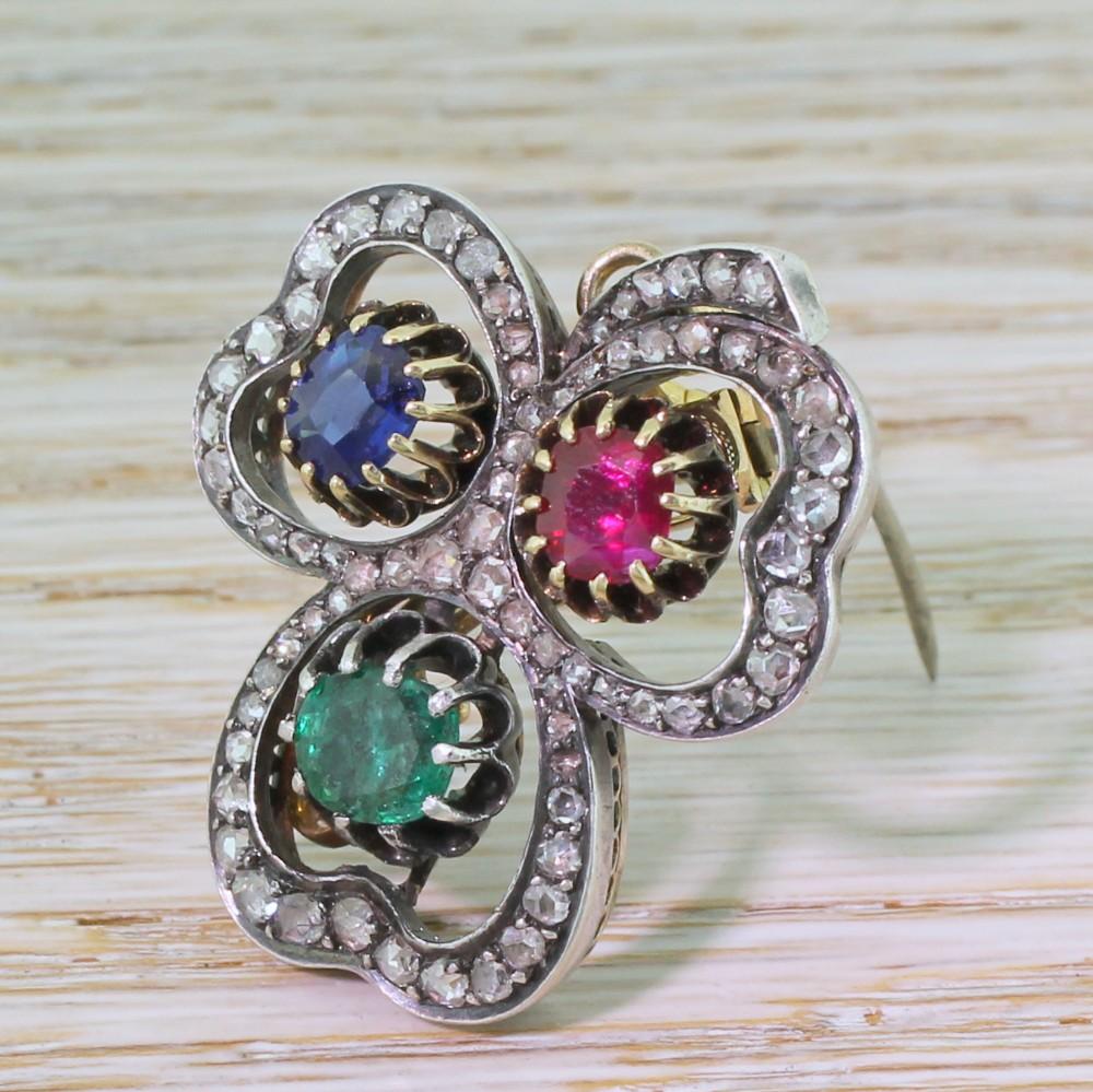 victorian emerald sapphire ruby diamond clover pendant brooch circa 1890