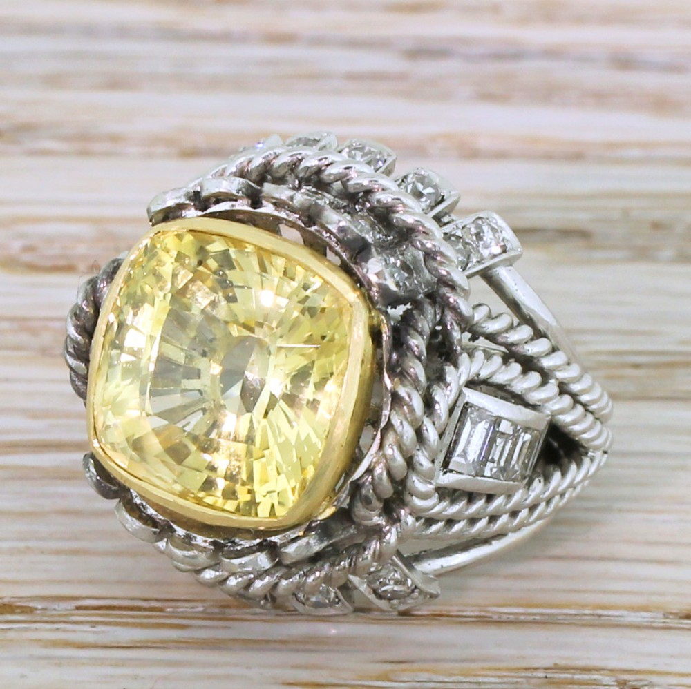 mid century 1350 carat ceylon yellow sapphire cocktail ring circa 1960