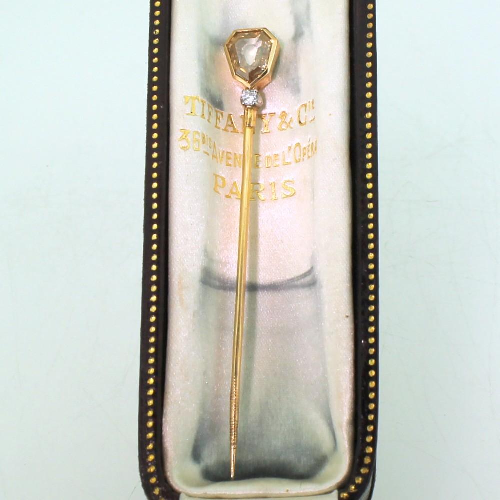 tiffany co 130 carat old shield cut diamond lapel pin circa 1960