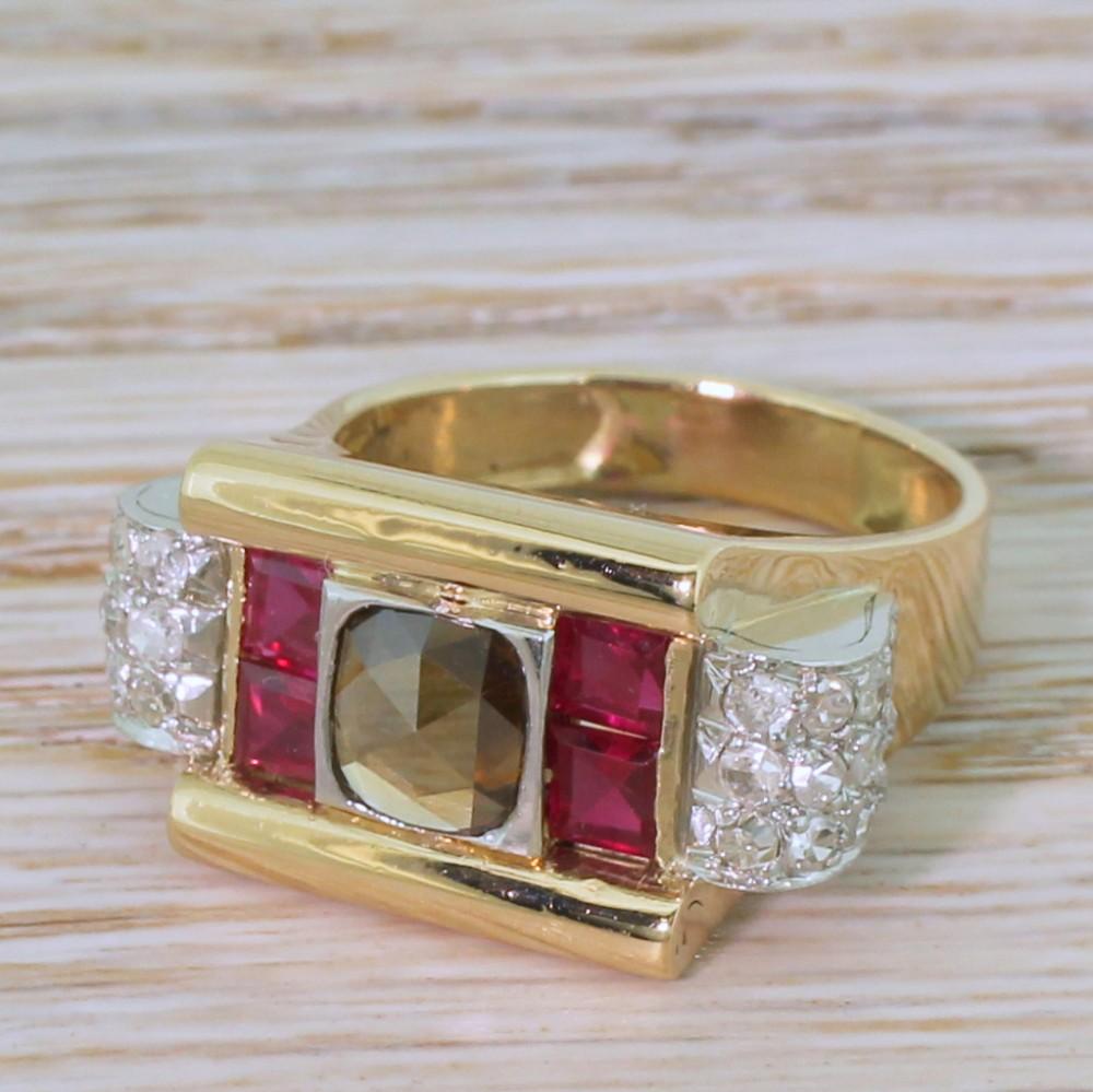 retro 059 carat fancy brown rose cut diamond ruby ring circa 1950