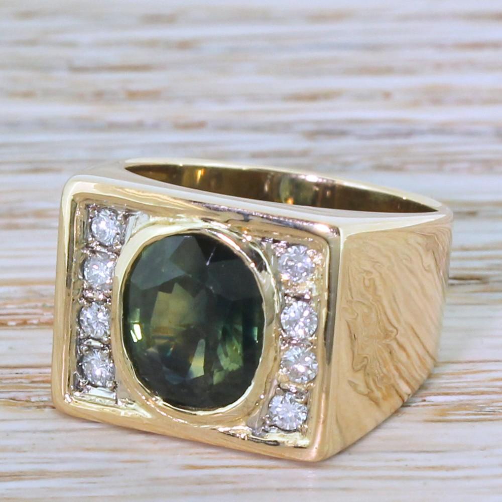 mid century 414 carat green sapphire diamond ring circa 1965