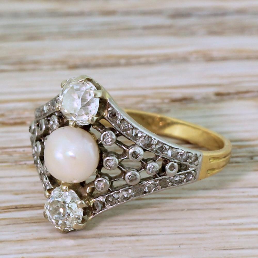 edwardian pearl old cut diamond ring circa 1910
