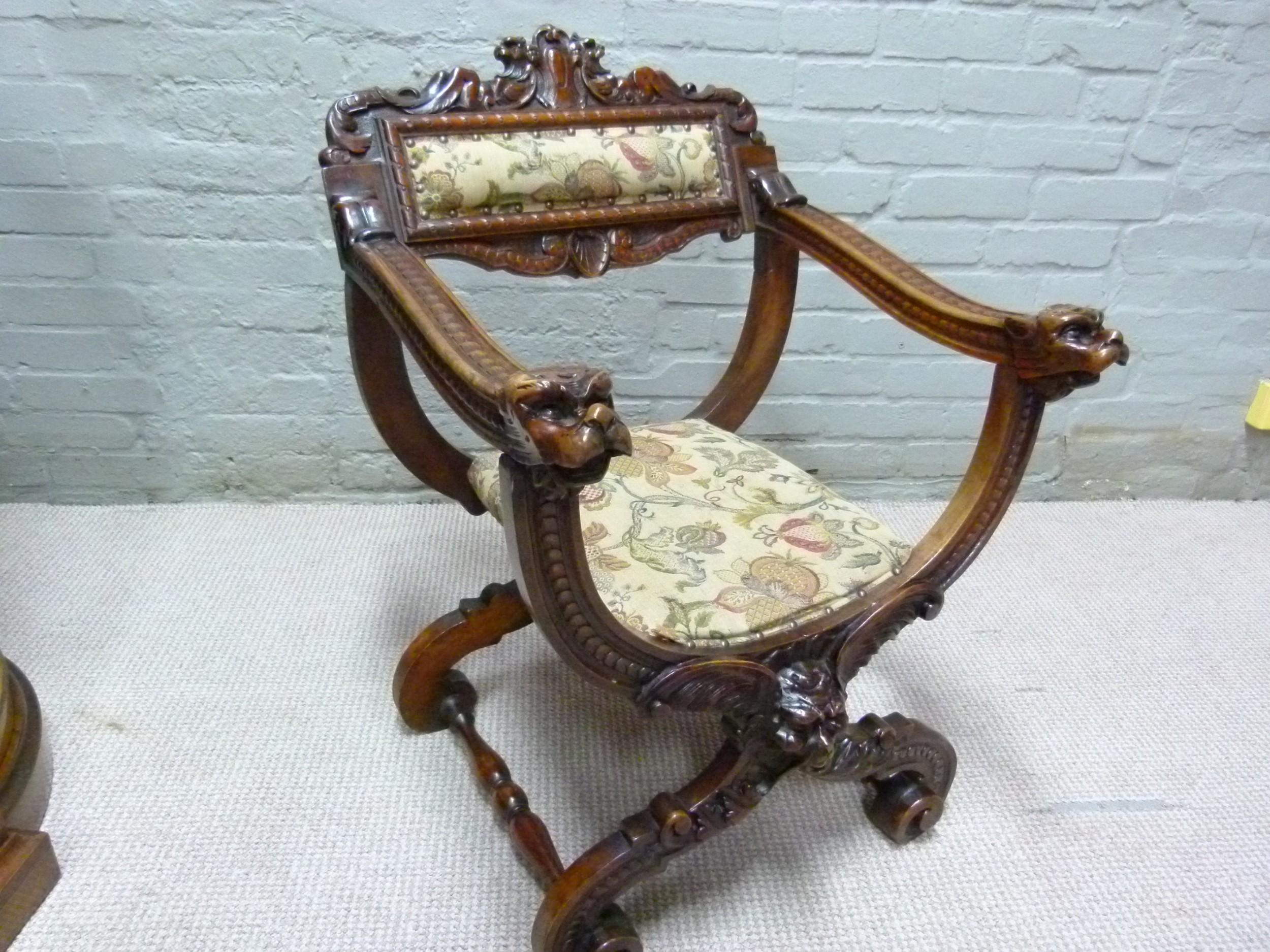 walnut carved chair