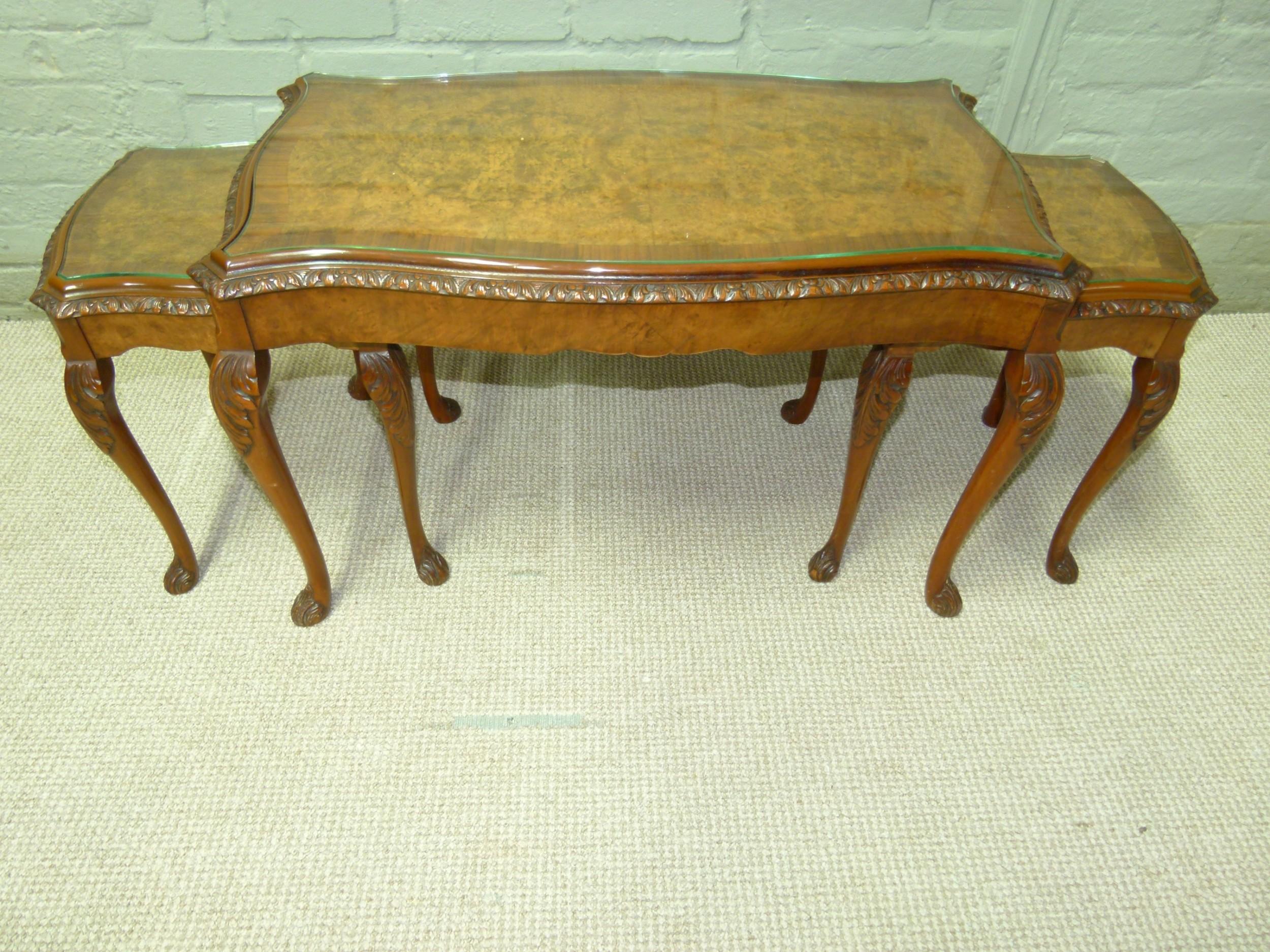 burr walnut nest of three tables