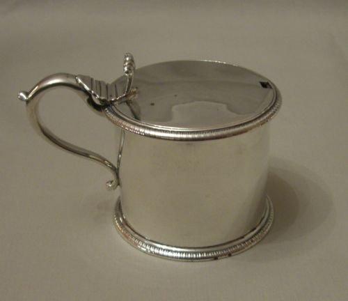 antique silver drum mustard pot