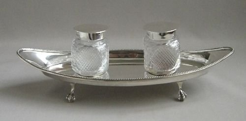 victorian silver ink stand