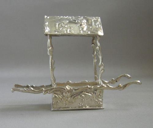 antique silver sedan chair postage stamp box