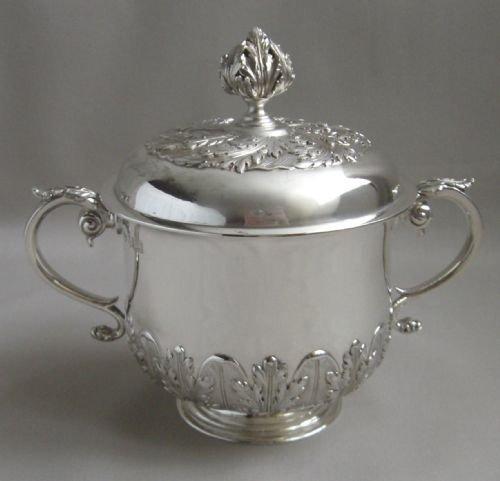 antique britannia silver porringer cover