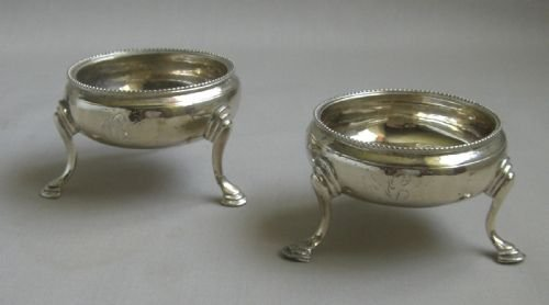 pair antique silver salts
