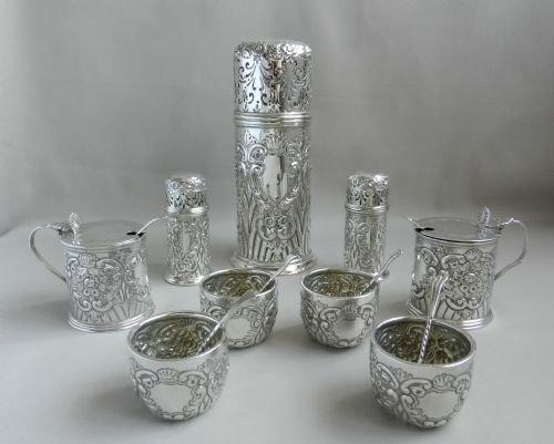 antique silver nine piece condiment set