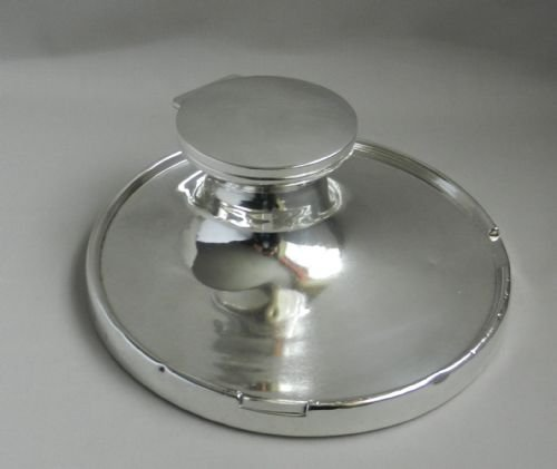 huge art deco silver inkwell