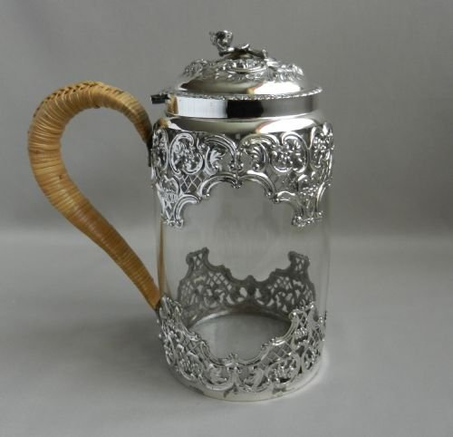 antique silver mounted glasss tankard