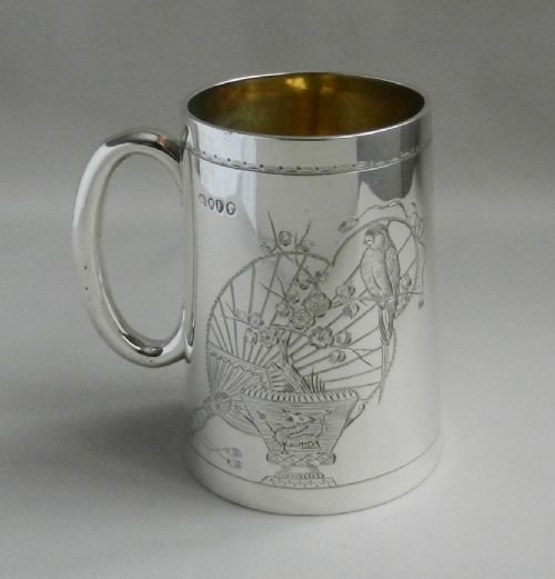 antique silver aesthetic movement mug