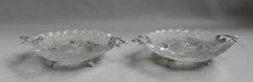pair antique silver cutglass sweet dishes