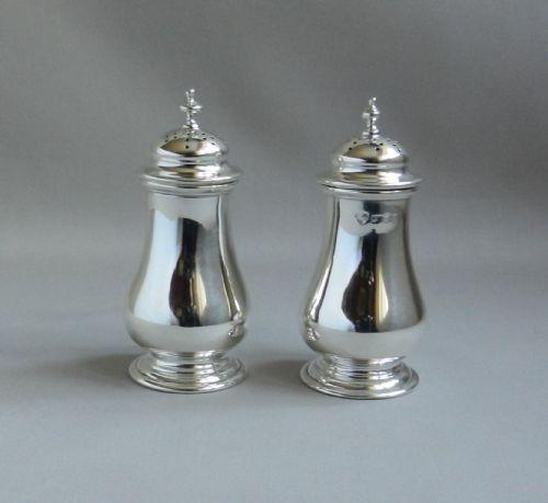 pair silver pepper pots