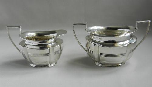 antique silver sugar cream set