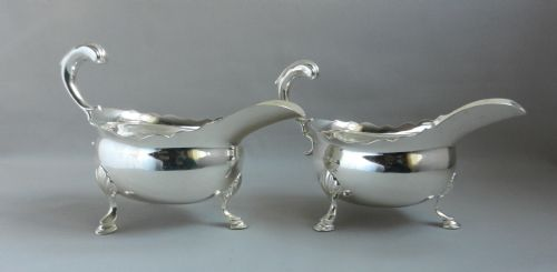 pair antique silver sauce boats