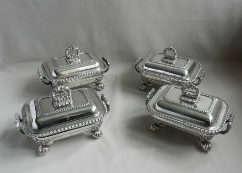set of georgian old sheffield plate sauce tureens