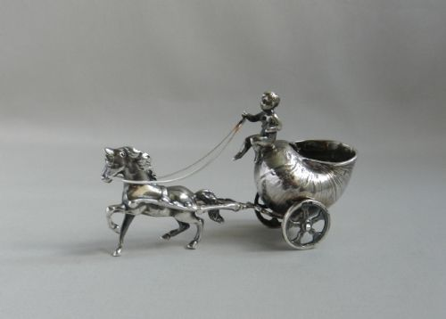 antique silver horse chariot model