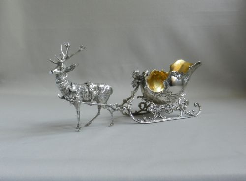 antique silver reindeer sleigh
