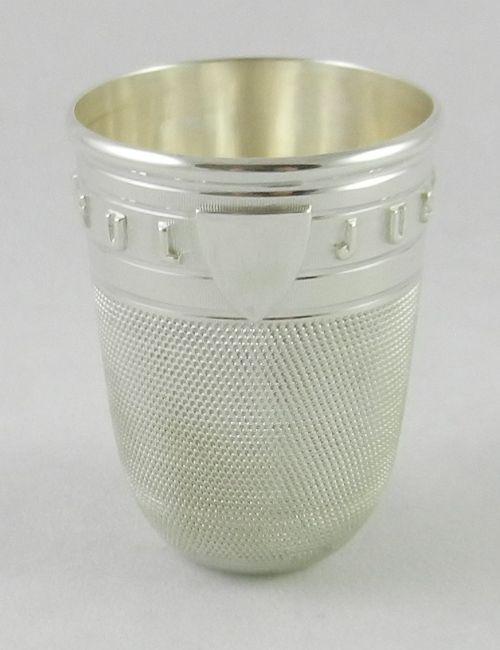 antique silver spirit beaker