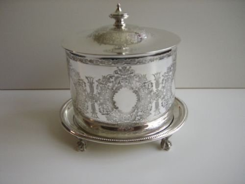 antique silverplated biscuit box
