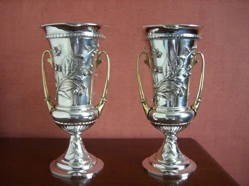 pair antique silverplated vases