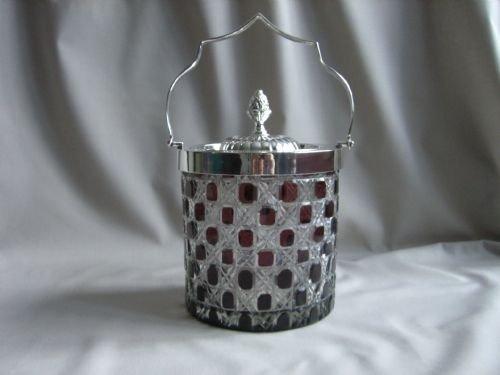 silverplate cut glass biscuit barrel