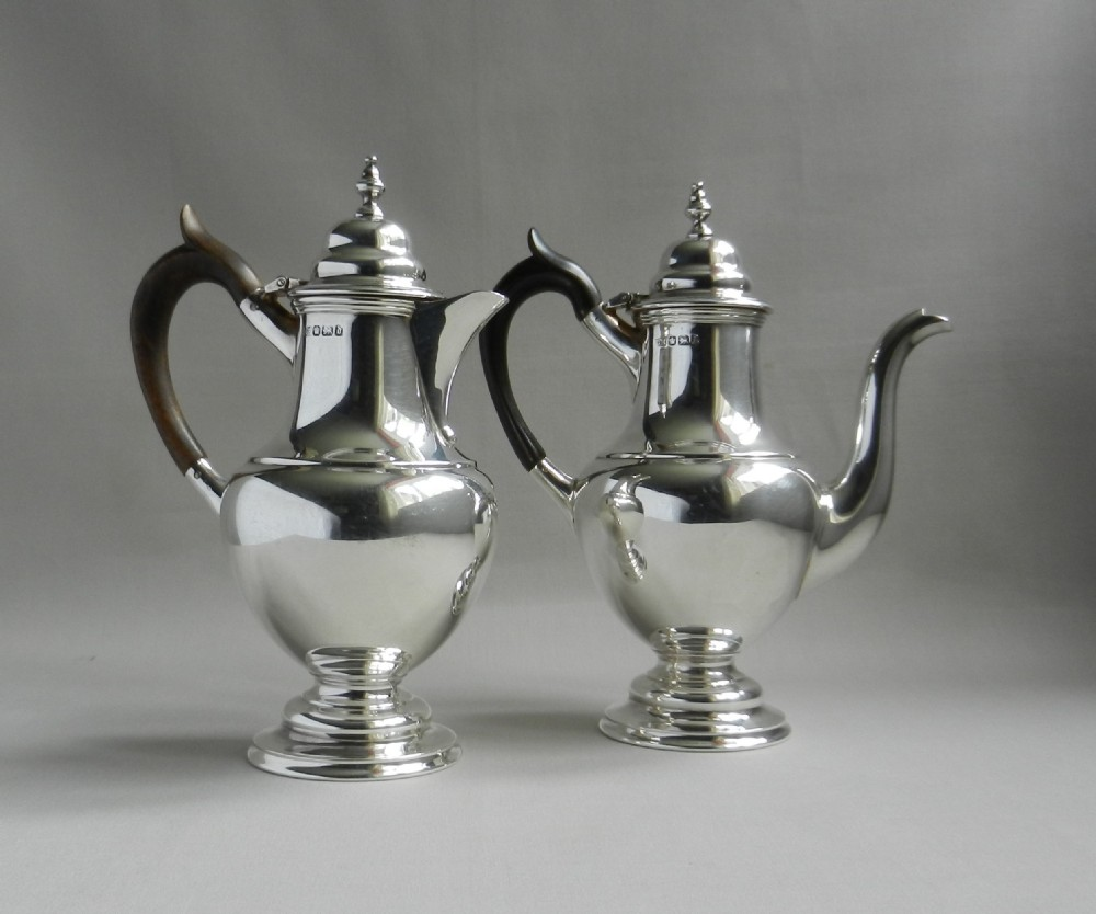 pair antique silver caf au lait pots