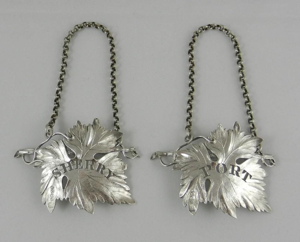 antique silver decanter labels