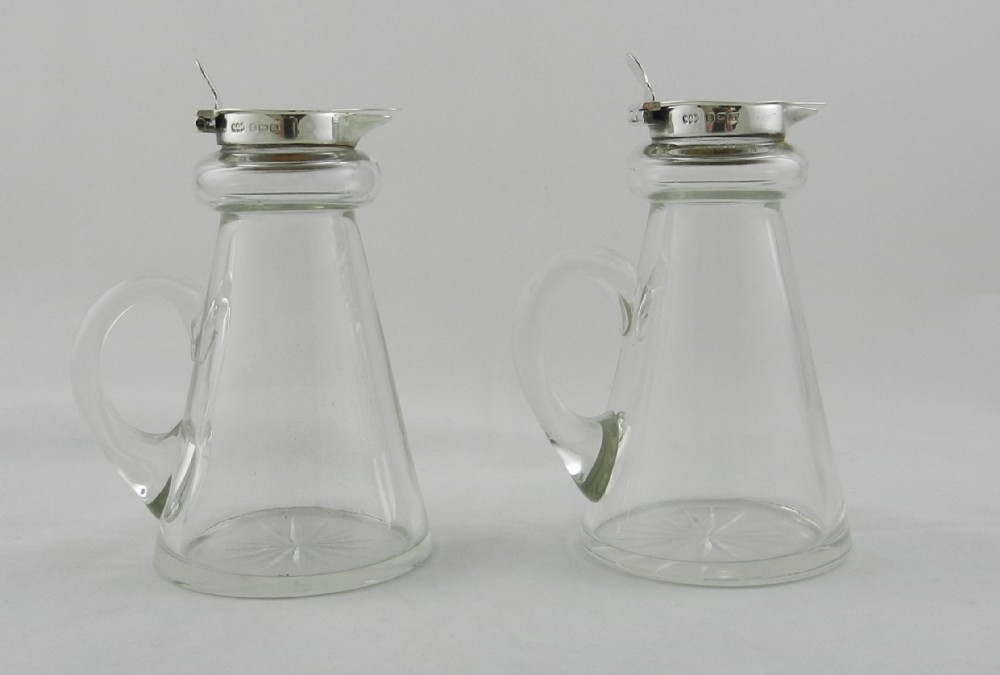 pair silver mounted glass whisky tots