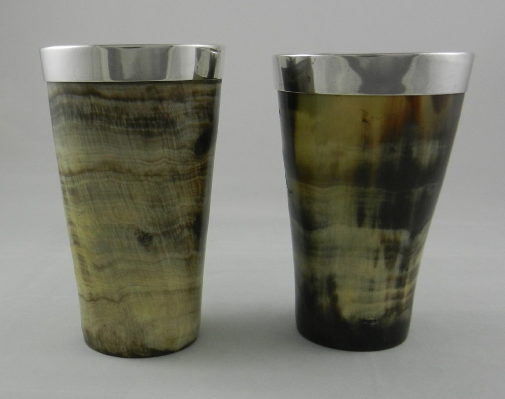 pair antique silver rimmed horn beakers