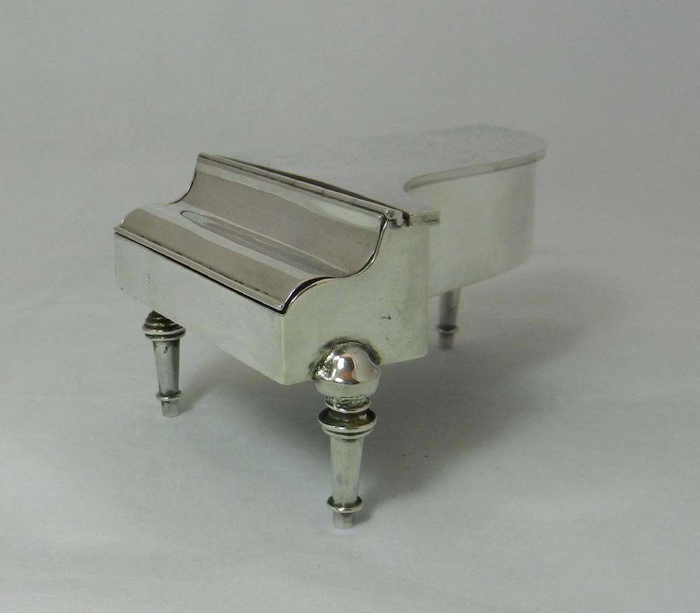 antique silver piano jewel casket