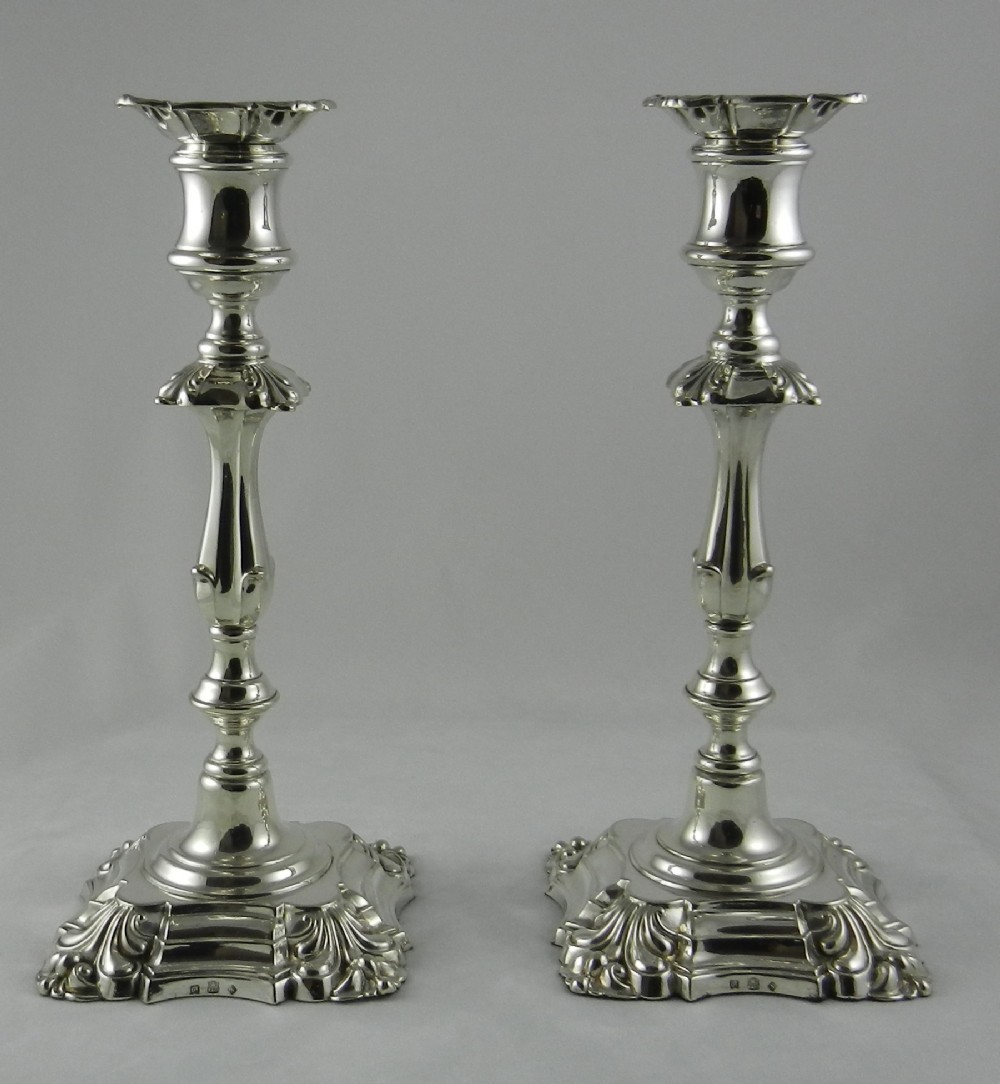 antique silver plated candlesticks