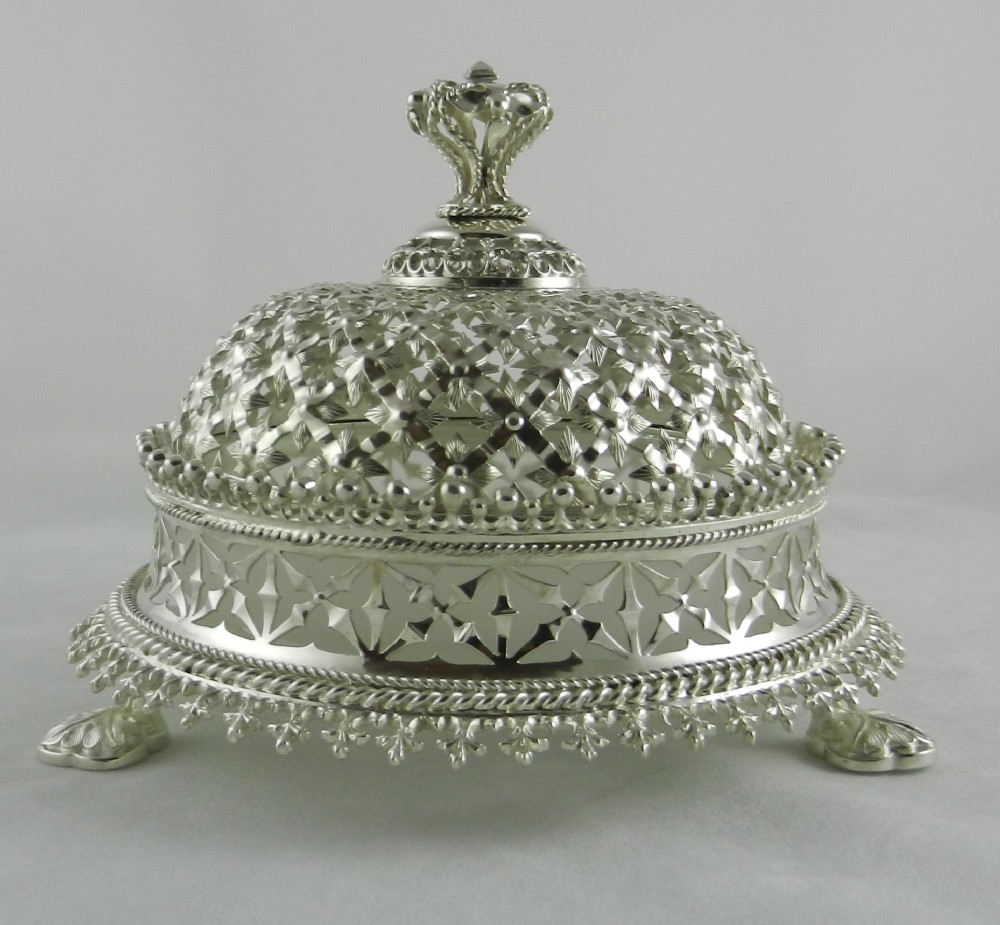 antique silver glass butter dish