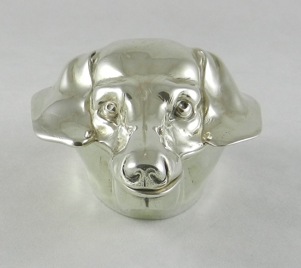 antique silver dachshund box