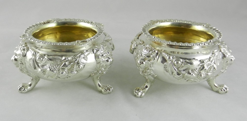 pair enormous antique silver salts