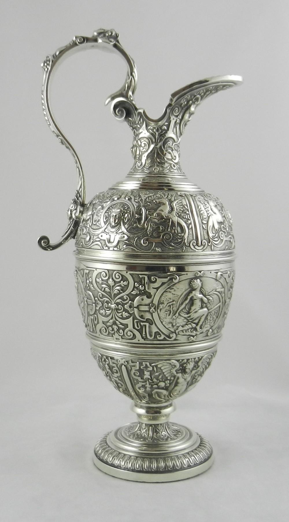 antique silverplated wine ewer