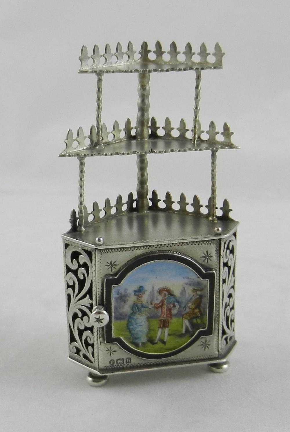 antique silver enamel furniture model
