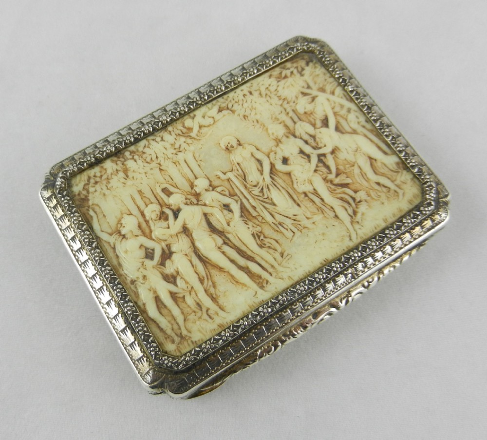 antique silver ivory box