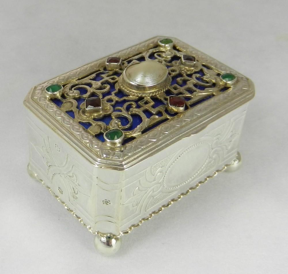 antique silver gem set box