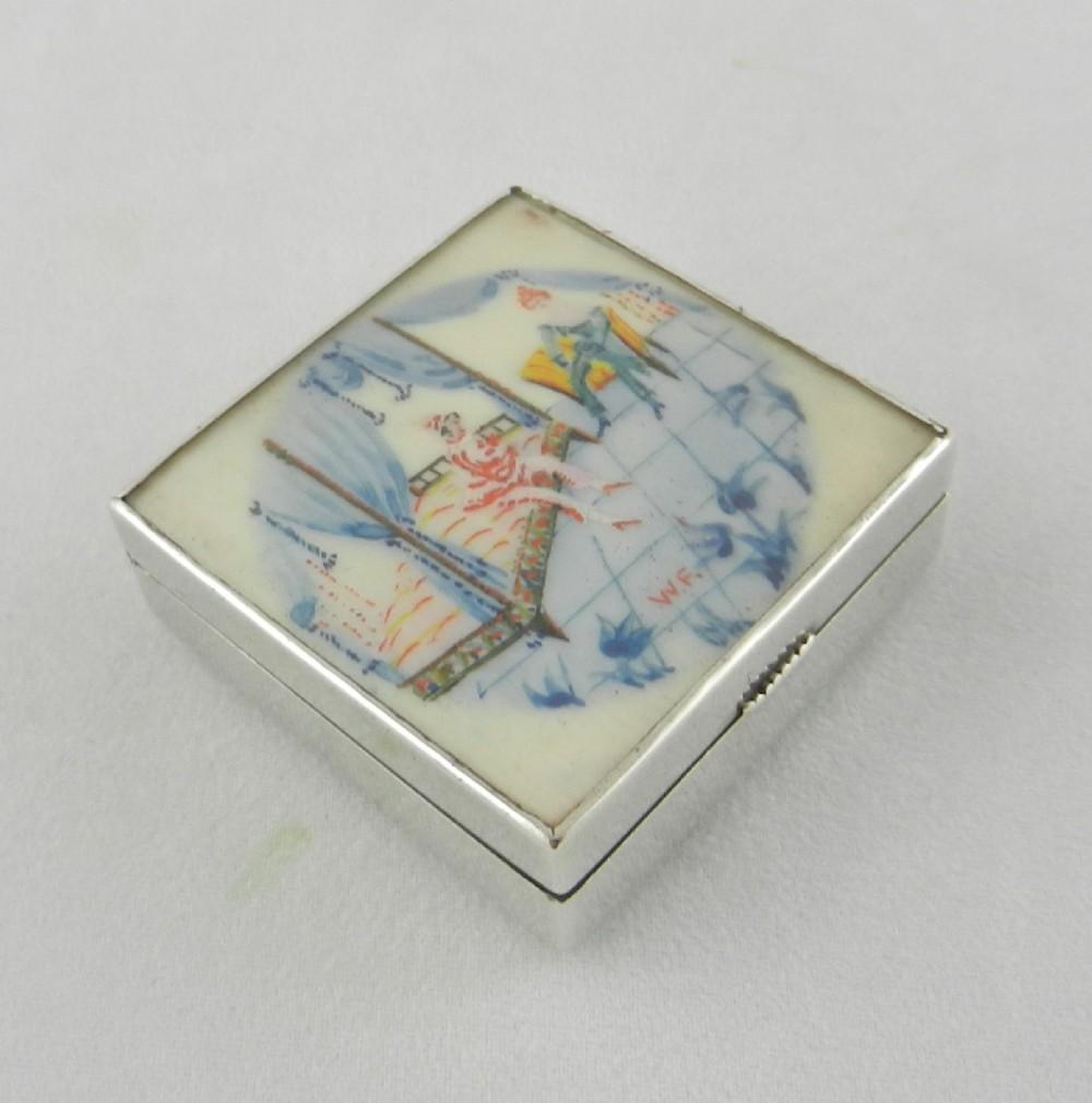 art nouveau silver enamel box