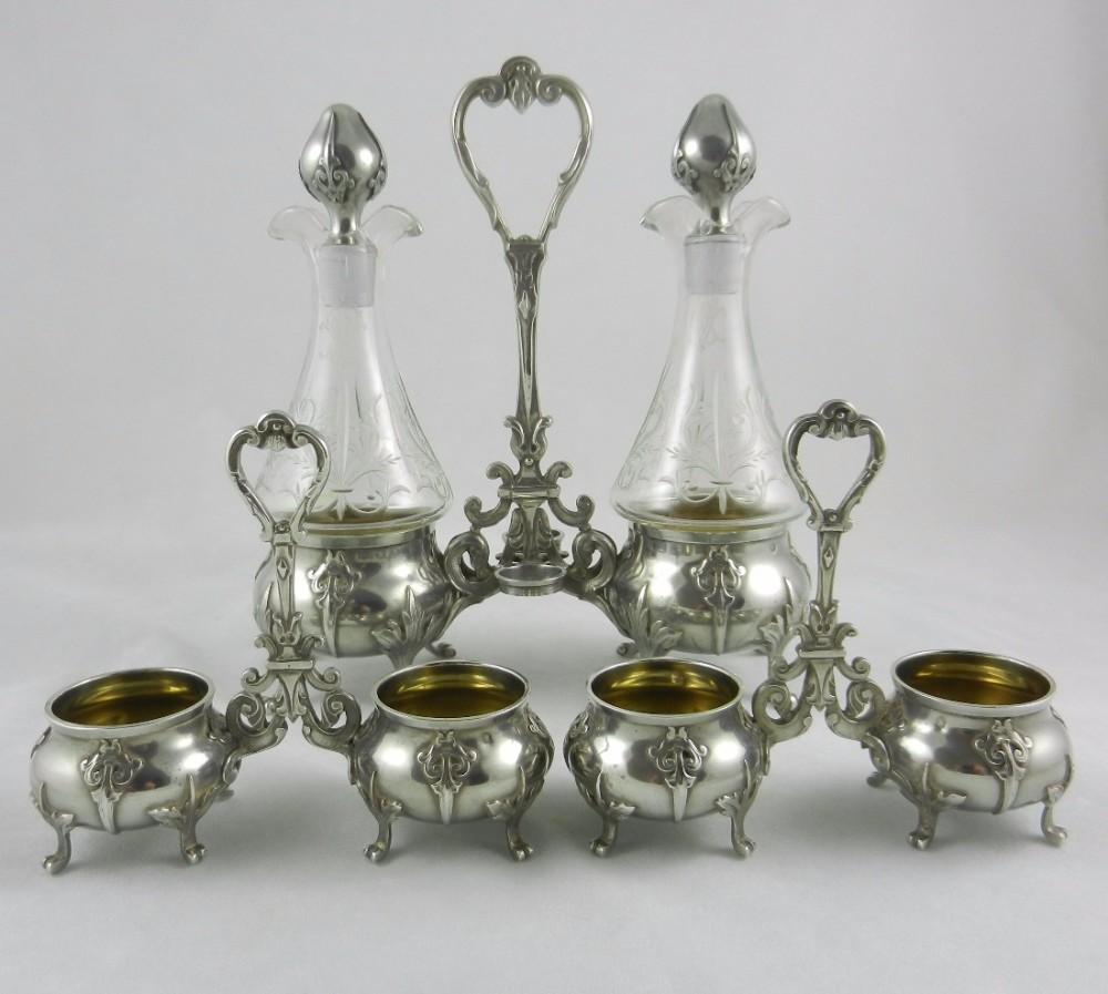 antique silver condiment suite