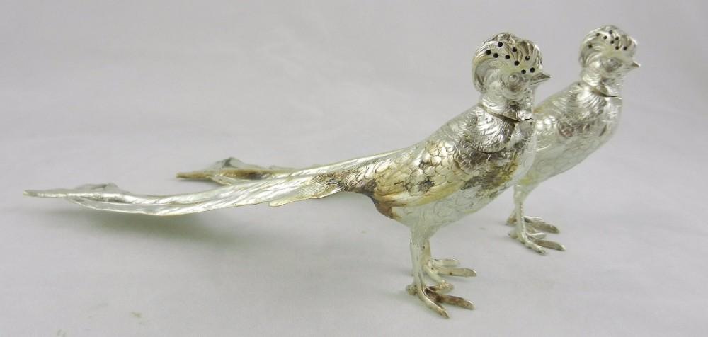 antique silver peacock condiment ornaments